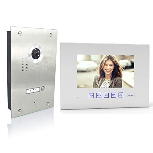 4 Draht Video Türsprechanlage Gegensprechanlage 1x7\'\' Monitor, Türstation für 1 Familienhaus, 170° Weitwinkel-Kamera