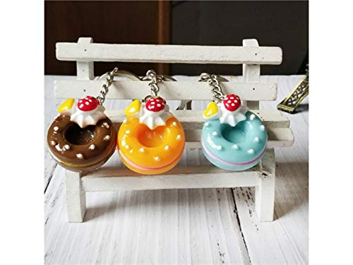 Godlife Mode Realistisches Lebensmittel-Kuchen-Donut Keychain für Frauen-Geldbeutel-Charme für Handtaschen-Anhänger mit Schlüssel Ring_Random Farbe Anhänger