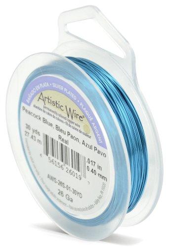Artistic Wire Beadalon Fil de cuivre Calibre 26 27,43 m Câble plaqué argent, bleu Paon