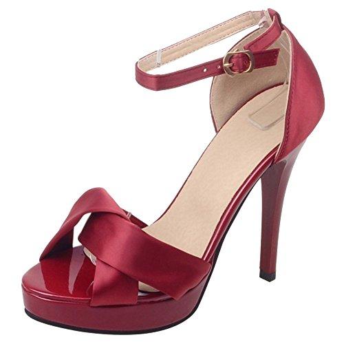 COOLCEPT Femmes Mode Cheville Sandales Orteil ouvert Talon Aiguille Chaussures Vin Rouge