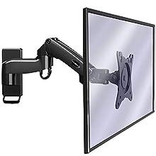 Invision Supporto Monitor Muro da Parete per PC e TV – per Schermi 17-27 Pollici - Braccio Singolo Ergonomico Regolabile in Altezza, Orientabile e Inclinabile - VESA 75x75mm/100x100mm - 2-7kg [MX250]