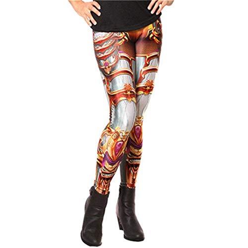 Moda para Mujer Steampunk Cintura Alta Especial Estilo 3D Mecánica Impresión Cosplay Leggings Pantalones De Cintura Alta Pantalones De Lápiz (Color : Kdk1507, Size : M)