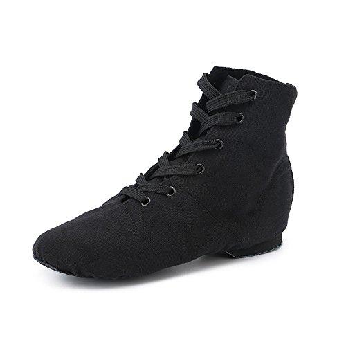 GTVERNH-hoch für erwachsene kinder von jazz - dance schuhe leinwand stiefeln weichen boden schuhe: moderne schuhe ballett - schuhe,37,schwarz
