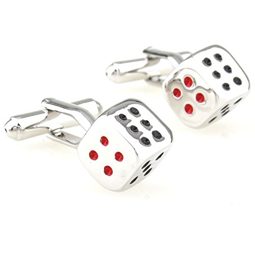 Ss Dice Fun Silver & Red & Black Copper Cufflinks For Men SS70  available at amazon for Rs.799