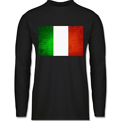 Shirtracer Länder - Flagge Italien - Herren Langarmshirt Schwarz