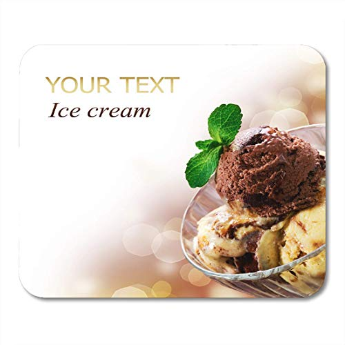 Deglogse Gaming-Mauspad-Matte, Brown Food Yellow Icecream Ice Cream White Dessert Scoop Mouse Pad Dessert Scoop