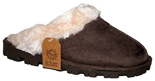 Ladies Tetbury pelliccia fodera pelliccia colletto basso top foderato inverno caldo slip on Mule Slipper by Jo e Joe Dark Brown