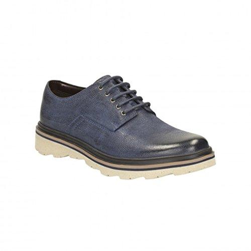 Clarks Détente Homme Chaussures Frelan Lace En Cuir Bleu