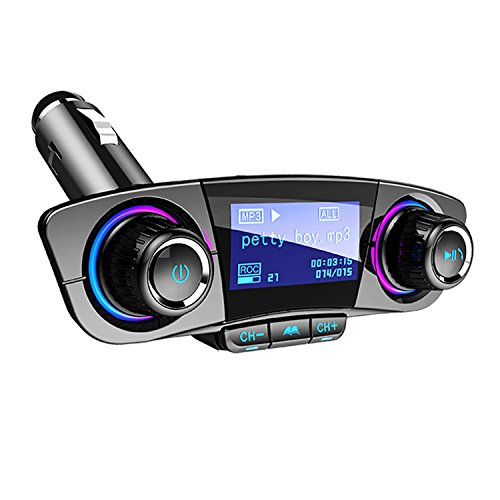 Bluetooth FM Transmitter für Auto Bluetooth Audio Adapter Car Kit MP3 Player mit Dual USB Car Charger Freisprecheinrichtung für iPhone, Samsung usw. Unterstützung AUX TF U Disk Play