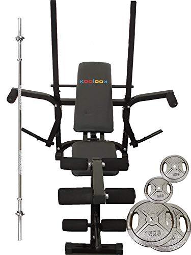 KOOLOOK Gym Bench Panca per Sollevamento Pesi + 4 X 5 kg Dischi Peso Hand Grip + 2 X 10 kg Dischi Peso Hand Grip + BILANCERE