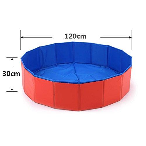 Baignoire piscine pour animal domestique par Cutogain - Pliable, démontable et transportable pour donner un bain et laver chiots, chats, chiens, Red, 120cm*30cm