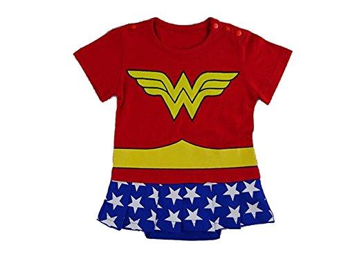 Wonder Woman 0-6 Monate Caped Baby Kleinkind Mädchen Spielanzug Party Spiel Kleid Outfit (Womens Popper)