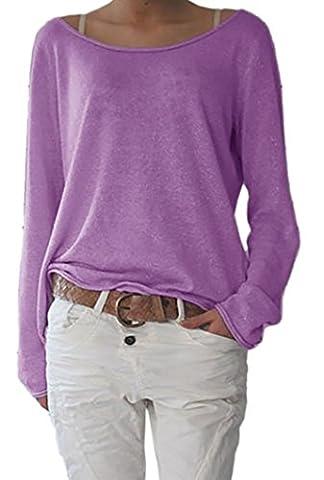 Damen Rundhalsausschnitt Langarm Lose Bluse Strickpulli Hemd Shirt Oversize Sweatshirt in vielen Trend Farben Tops S/M L/XL (632) (L/XL, Lila)