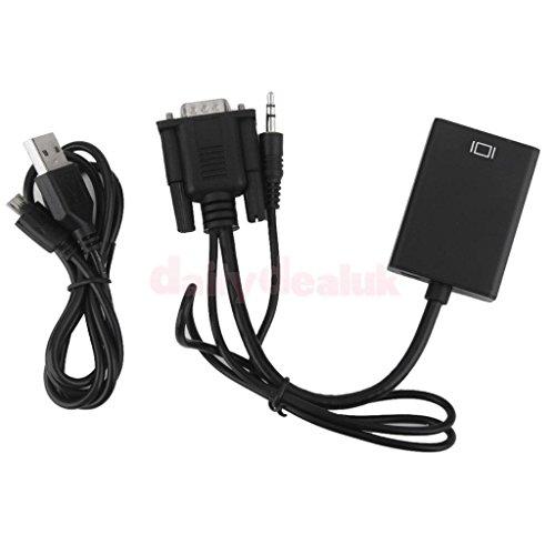 Microware VGA Male to HDMI Female HDMI Cable (Black)
