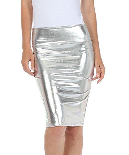 Fast Fashion - Haute Taille Regard Humide PVC Cuir Brillant Métallique Liquide Crayon Midi Jupe - Femmes Métallique Argenté