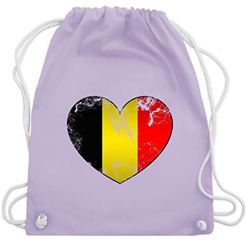 Fußball-Europameisterschaft 2020 - Belgien Vintage Herz - Unisize - Pastell Lila - WM110 - Turnbeutel & Gym Bag