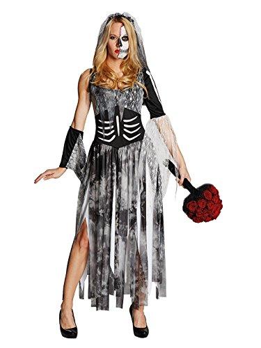 KULTFAKTOR GmbH Schaurige Zombie Braut Halloween Damenkostüm grau-schwarz-Weiss M