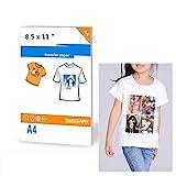 20 feuilles de papier transfert pour imprimantes jet d'encre pour T-shirt de couleur claire 8,5 x 27,9 cm