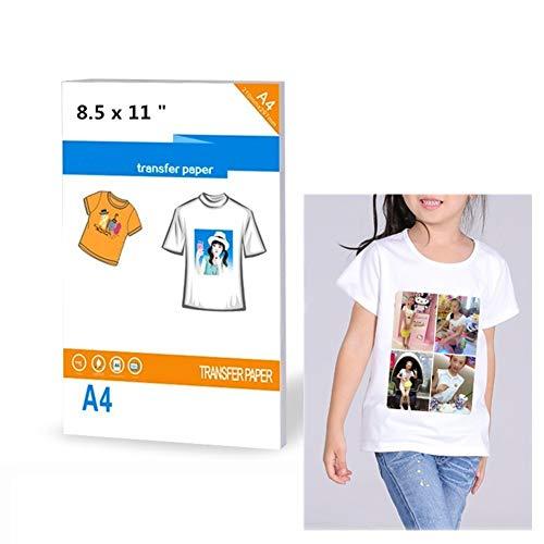 Carta trasferibile per magliette, per stampanti a getto d'inchiostro, termo-adesiva, circa 21 x 28 cm, per colori chiari, confezione da 8