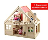 B&Julian  Groß Puppenhaus Holz mit 26 Möbel 4 Puppen und Zubehör Zwei Etage für Kinder