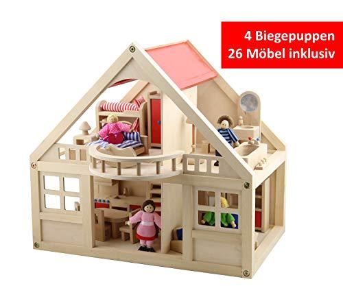 B&Julian ® Groß Puppenhaus Holz mit 26 Möbel 4 Puppen und Zubehör Zwei Etage für Kinder -