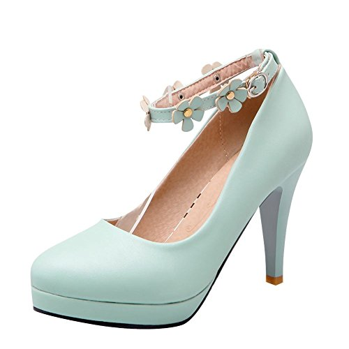 Mee Shoes Damen high heels ankle strap mit Blümchen Pumps Blau