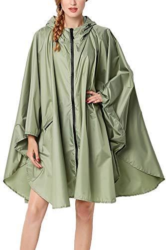 TACVASEN Regenmantel Damen Wasserdicht Regenponcho Regencape Regenjacke für Damen Leicht Wiederverwendbar Wandern Radfahren Rain Poncho Women Regen Kleidung Camping Reisen Regenmantel Grün Matcha