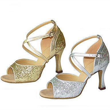 Scarpe da ballo-Personalizzabile-Da donna-Balli latino-americani Jazz Salsa Scarpe da swing-Tacco su misura-Raso-Argento Dorato Gold