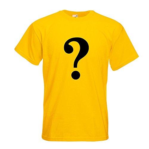 KIWISTAR - Fragezeichen Piktogramm T-Shirt in 15 verschiedenen Farben - Herren Funshirt bedruckt Design Sprüche Spruch Motive Oberteil Baumwolle Print Größe S M L XL XXL Gelb