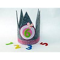 Geburtstagskrone in rosa und grau mit 3 auswechselbaren Zahlen und Gummizug / Einheitsgröße