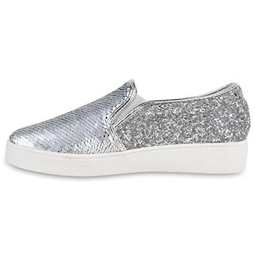 Damen Sneakers Slipons Lack Glitzer Metallic Slipper Schuhe Silber Glitzer  Pailletten