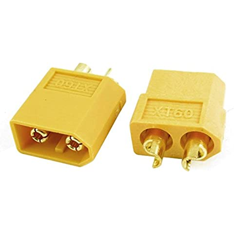 Par Macho Hembra XT60 Bala Enchufe Conector Amarillo para RC LiPo Batería