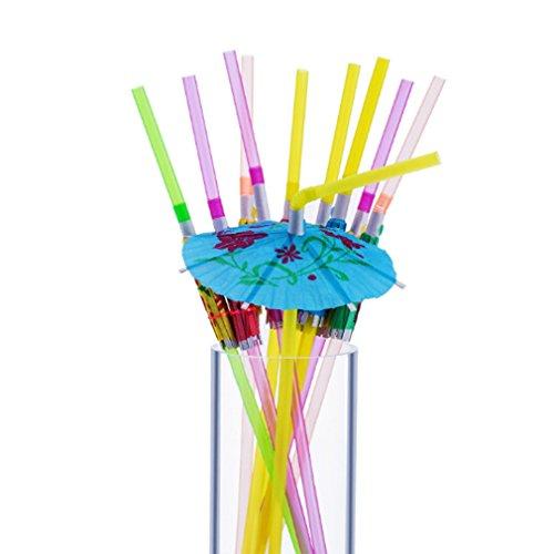 Unke 50Stück Regenschirm Einweg biegbare Trinkhalme für Luau Parteien, Bars, Restaurants - Papier Hibiskus-blumen