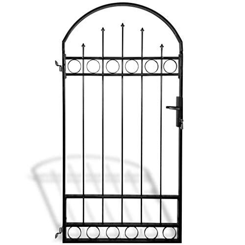 vidaXL Portail Porte de Clôture de Jardin avec Dessus Arqué 100 x 200 cm
