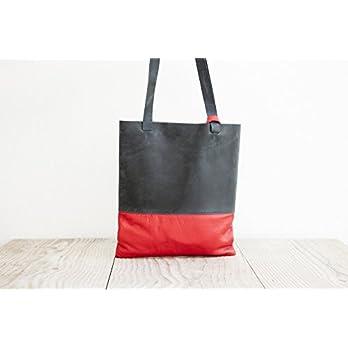 Shopper Tote Bag echtes Leder blau Einkaufstasche Schultertasche Büro handgemacht