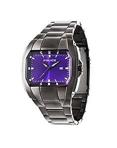 Police PL.94181AEU/15M - Reloj de cuarzo para hombres con esfera púrpura y correa plateada de acero inoxidable de Police