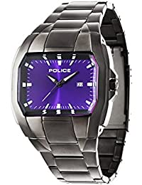 Police Men's PL.94181AEU/15M Quartz Watch with Purple Dial Analogue Display and Stainless Steel Plated Bracelet