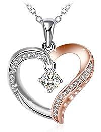 Collier, J.Rosée Argent 925, Perle d'imitation 5A zircon, chaîne élégante 45+5mm avec paquet exquis Amour Perle Axzz Cadeaux de Noël