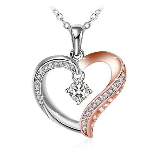 Collana, j.rosée argento 925 con 5a zirconi per donna gioielli ciondolo buon regalo di festa della mamma per amore con confezione