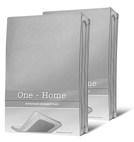 one-home 2 Spannbettlaken Silber 90×200 cm – 100×200 cm Microfaser Spannbetttuch Set