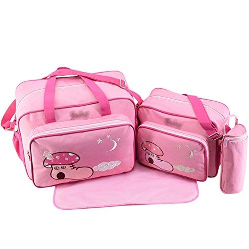 Jitong 4 Stück Wickeltasche Set mit Cartoon Muster| Mama Handtasche Reisetasche + Baby Wickelauflage + Babyflasche Taschen (Rosa, Größe #1)
