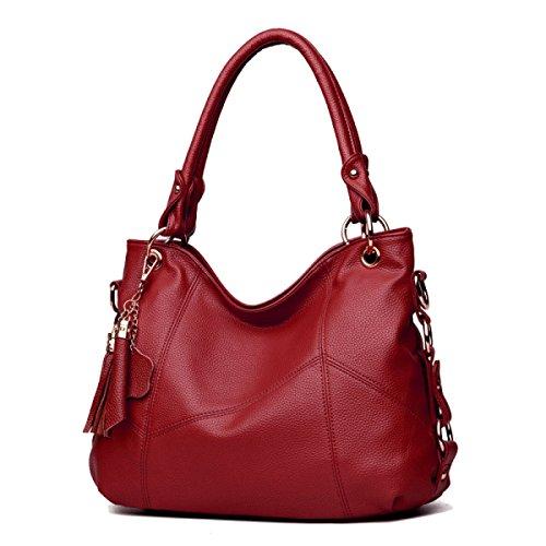 Damenmode Freizeit Schulter Umhängetasche Quaste Weichen Ledernen Beutel Einkaufstasche Einfache Große Kapazität Handtaschen Red