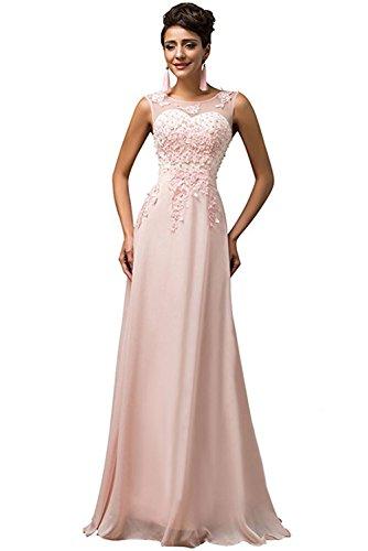 Milano Bride Hell Rosa Einfach Chiffon Applikation Abendkleider Partykleider Promkleider Lang...