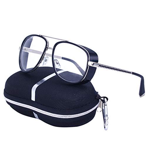 DAIYSNAFDN Steampunk Sonnenbrille Männer Quadrat Spiegel Designer Sonnenbrille Retro Vintage Sonnenbrille C2