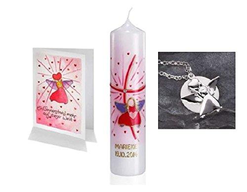 Taufset Engel mit Herz bestehend aus Taufschmuck 925 Sterling Silber, Taufkerze mit Namen verziert im Klarsichtkarton und Grusskarte