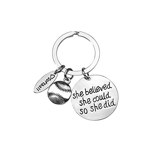 YUHUS Home Softball Keychain Schlüsselanhänger, Brief Keychain Sie glaubte, sie könnte es tun