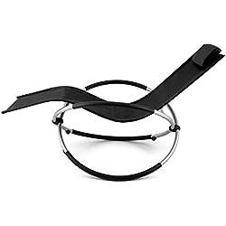 Blumfeldt Chilly Billy Chaise longue de jardin (avec accoudoirs, transat avec cadre en aluminium, effet bascule et arrêt sécurité, supporte jusqu'à 180kg) - noir