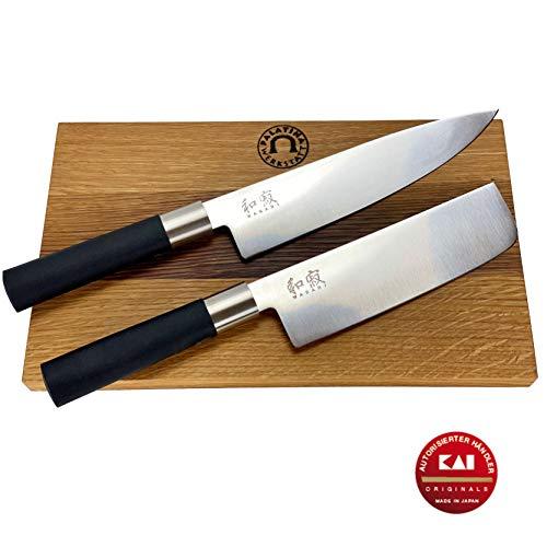 3 tlg. Kai Wasabi Black Messerset/Geschenkset | ultrascharfes Japanisches Nakiri | + großes Kochmesser 20 cm | + massives Fassholzbrett 30x18 cm | VK: 142,90 €
