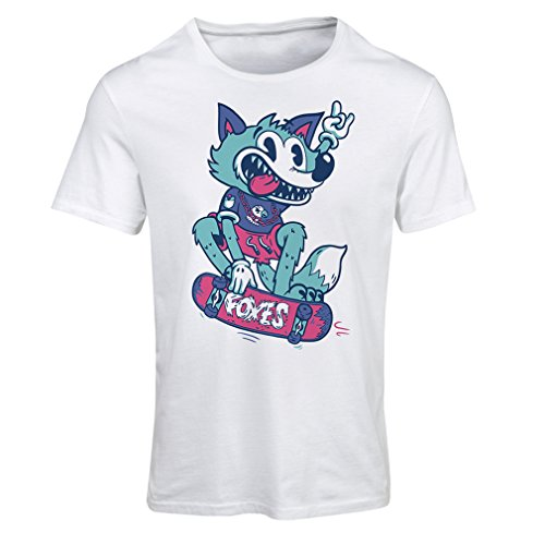 Maglietta Donna skater fox - streetwear, abbigliamento urbano, abbigliamento da skateboard, attrezzatura da skate Bianco Multicolore