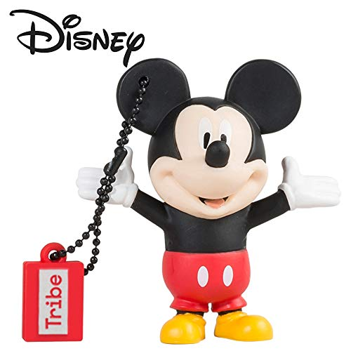 Tribe Disney Mickey Mouse USB Stick 16GB Speicherstick 2.0 High Speed Pendrive Memory Stick Flash Drive, Lustige Geschenke 3D Figur, USB Gadget aus Hart-PVC mit Schlüsselanhänger – Mehrfarbig